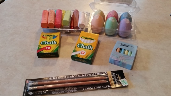 Some of the different chalks I've tried. Really, they've all worked great. I haven't tried the pencils yet, because the wall is SO BIG!